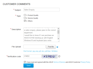 Completed ASUS complaint form